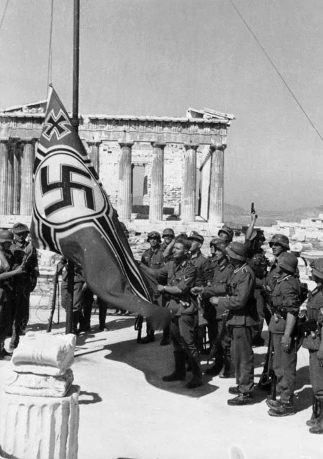Nazi German flag being raised over Acropolis, 1941.